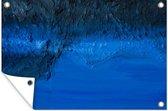 Een olieverf schilderij met een blauwe gloed tuinposter 120x80 cm - Tuindoek / Buitencanvas / Schilderijen voor buiten (tuin decoratie)