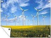 Deze windmolens staan op het platteland van Nederland Tuinposter 80x60 cm - Tuindoek / Buitencanvas / Schilderijen voor buiten (tuin decoratie)
