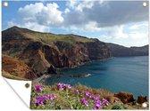 Een kust van kliffen op Madeira Tuinposter 160x120 cm - Tuindoek / Buitencanvas / Schilderijen voor buiten (tuin decoratie) XXL / Groot formaat!