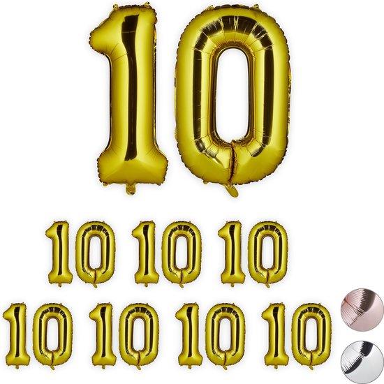 relaxdays 8x folie ballon 10 - cijfer ballon groot - verjaardagsballon - goud - xxl