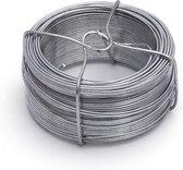 1x stuks binddraad / binddraden staal verzinkt 1,3 mm x 50 m op rol - zilver - dik ijzerdraad hobbymateriaal