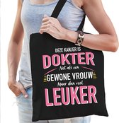 Gewone vrouw / dokter cadeau tas zwart voor dames - kado tas / verjaardag tasje / shopper