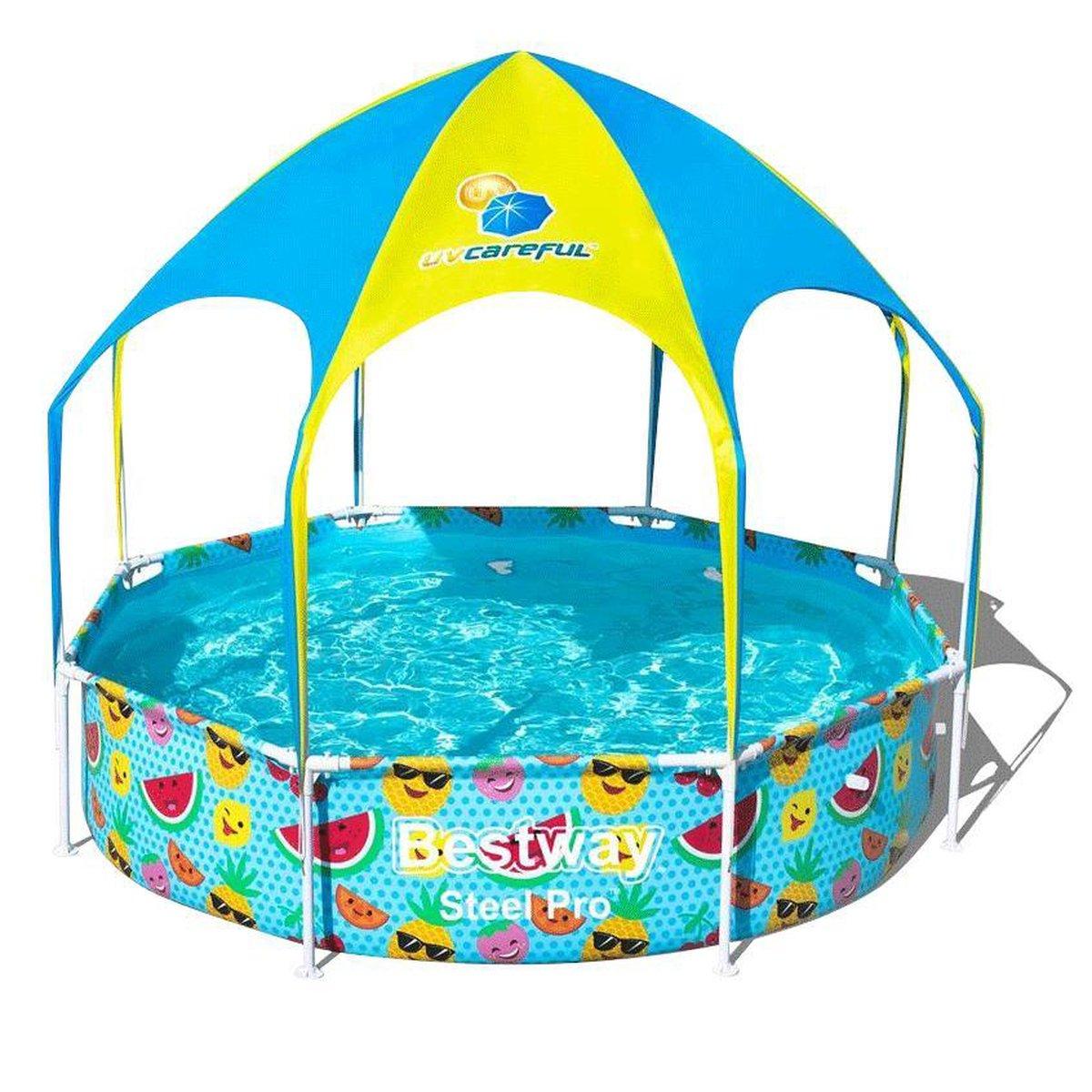 Zwembad met zonnescherm - Bestway - my first frame pool - 244cm - Rond zwembad