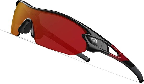Torege Sport Zonnebril - Sportbril Fietsbril - Black Red &Red - verwisselbare lenzen - gepolariseerd