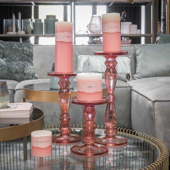 Kaars Pillar dip-dye roze 7x20cm