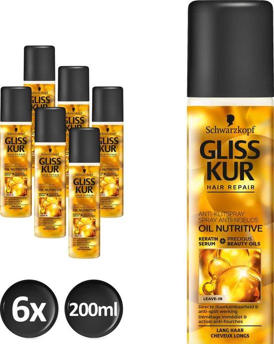 Schwarzkopf Gliss Kur Oil Nutritive Anti-klit Spray 200 ml - 6 stuks - Voordeelverpakking - Gliss Kur