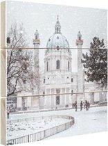Karlskirche in de sneeuw Hout 80x120 cm - Foto print op Hout (Wanddecoratie)