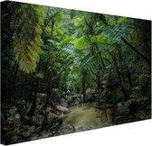 Riviertje in tropische jungle Canvas 30x20 cm - klein - Foto print op Canvas schilderij (Wanddecoratie woonkamer / slaapkamer)