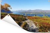 Heldere lucht boven het herfstlandschap van het Nationaal park Sarek in Zweden Tuinposter 120x80 cm - Tuindoek / Buitencanvas / Schilderijen voor buiten (tuin decoratie)