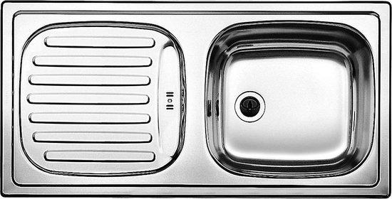 Blanco RVS Keukenspoelbak 511917 - Afwasbak - Spoelbak - Keuken - Roestvrijstaal - Omkeerbaar - Opbouw - Afdruipgedeelte