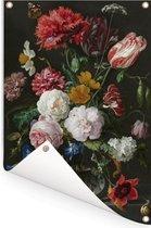 Stilleven met bloemen in een glazen vaas - Schilderij van Jan Davidsz de Heem Tuinposter 60x90 cm - Tuindoek / Buitencanvas / Schilderijen voor buiten (tuin decoratie)