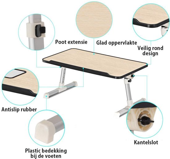 Verstelbare Laptoptafel - Verstelbare Laptoptafel o.a. voor op Bed - Laptopstandaard - Eyzo