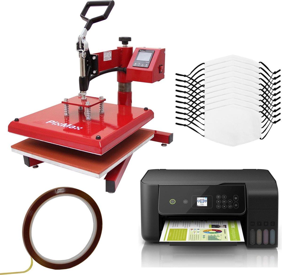Bundel: 10 x sublimatie mondkapjes medium - 38 x 38 cm swing hittepers transferpers - eco tank printer - sublimatie bedrukken eigen ontwerp - pm2.5 filter vijf lagen - wasbaar hergebruiken hand wassen
