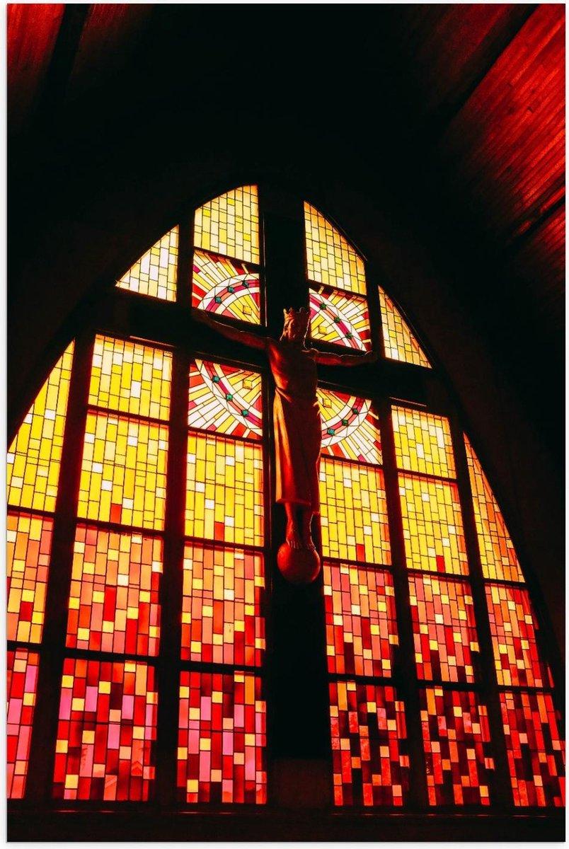 Poster   Glas in Lood Raam met Jezus  in Kerk - 60x90cm Foto op Posterpapier