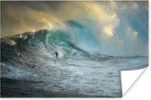 Poster - Surfer op grote golfen - 60x40 cm