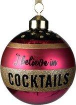 3x Roze glazen kerstballen I believe in cocktails 8 cm - Roze kerstballen kerstversiering van glas