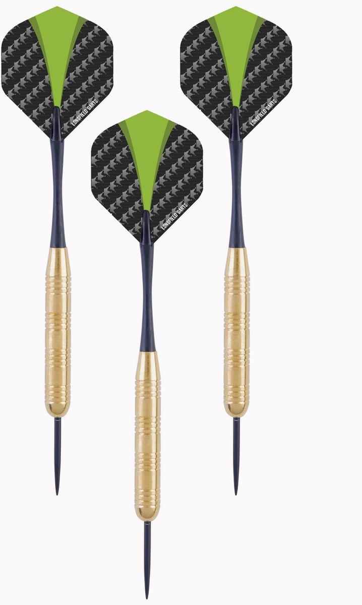 1x Set van 3 dartpijlen Longfield darts brass 24 grams - Darten/darts sport artikelen pijltjes messing - Kinderen/volwassenen