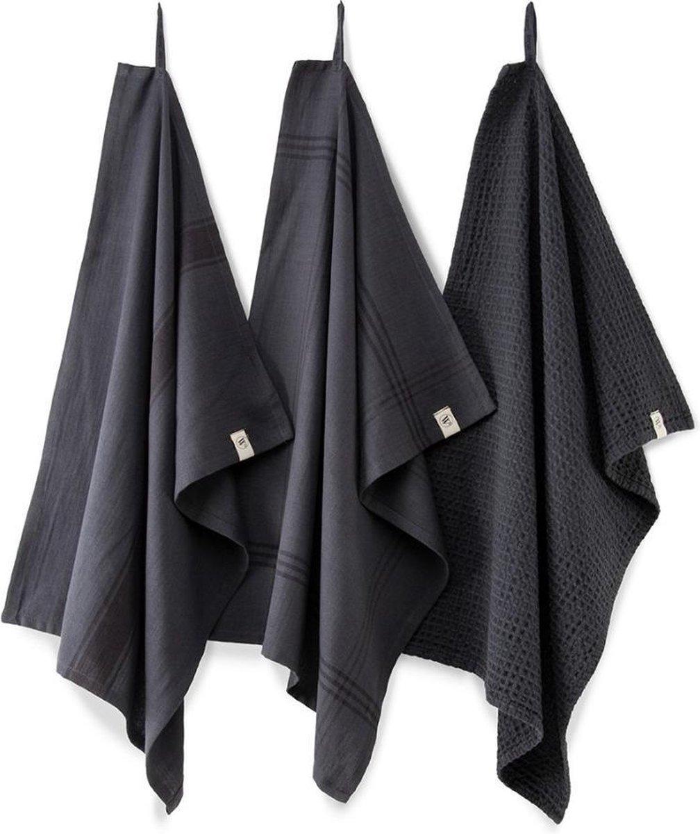 Walra Keukenset - Theedoeken - Zwart - 50x70cm - 3 stuks