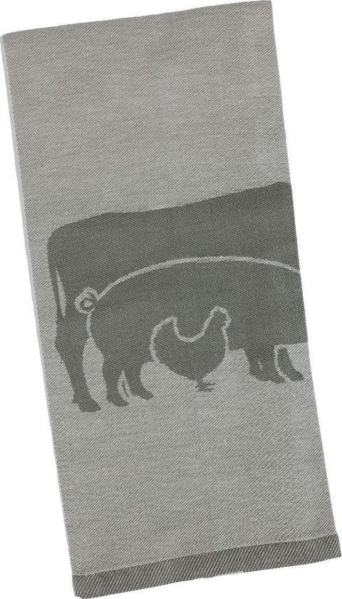 Clarysse Theedoeken Farm Animals 6 stuks-Grijs