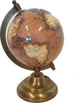 Wereldbol op voet 12 cm amber - messing