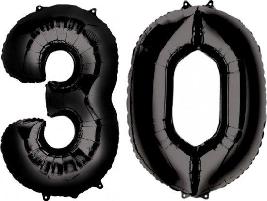 Ballon Cijfer 30 Jaar Zwart Verjaardag Versiering Zwarten Helium Ballonnen Feest Versiering 86 Cm XL Formaat Met Rietje