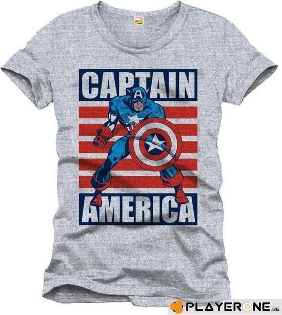CAPTAIN AMERICA - T-Shirt Cap Flag - Grey (XXL)