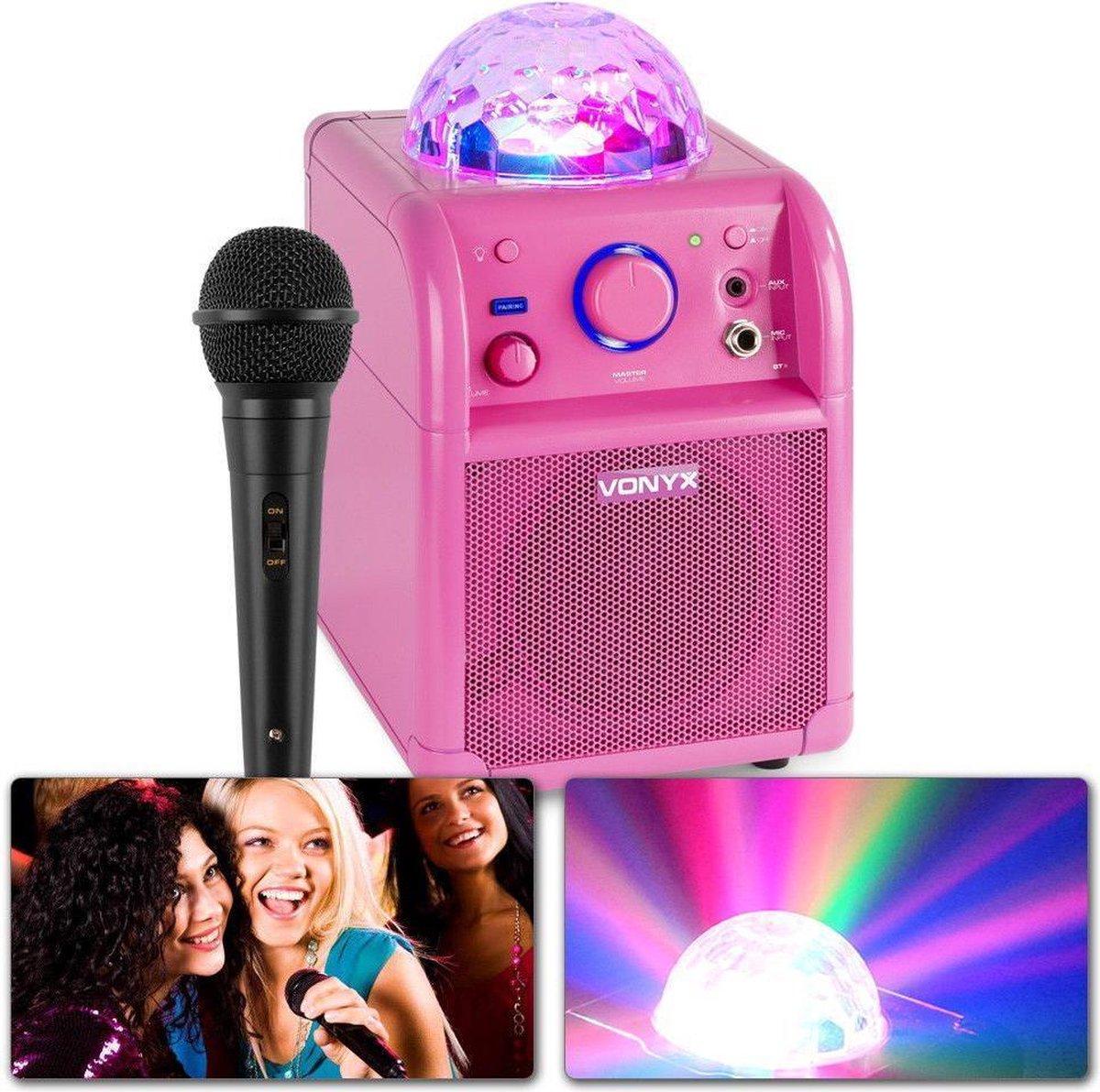 Karaoke set - Vonyx SBS50P Roze karaoke set op accu met Bluetooth, microfoon met echo effect en LED