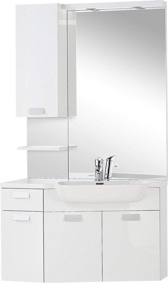 Differnz Fabulous Badkamermeubel - Hoekmodel - Kraangat rechts - 100 cm - Wit
