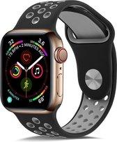 Shop4 - Apple Watch 6 44mm Bandje - Small Siliconen Grijs Zwart
