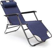 relaxdays ligstoel inklapbaar - ligbed met hoofdsteun - strandstoel verstelbaar - camping donkerblauwe