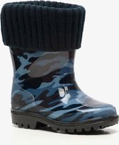 Gevoerde kinder regenlaarzen met camouflageprint - Blauw - Maat 25