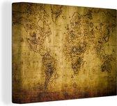 Canvas Schilderijen Wereldkaart - Bruin - Vintage - 90x60 cm - Wanddecoratie