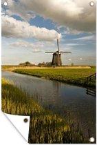 Windmolen aan het water in West-Friesland tuinposter los doek 60x90 cm - Tuindoek / Buitencanvas / Schilderijen voor buiten (tuin decoratie)