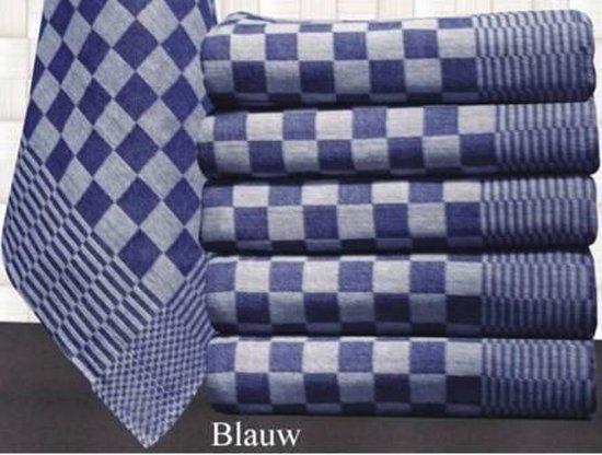 Theedoeken, 12 stuks, katoen, 70x70cm, blauwe en witte blok