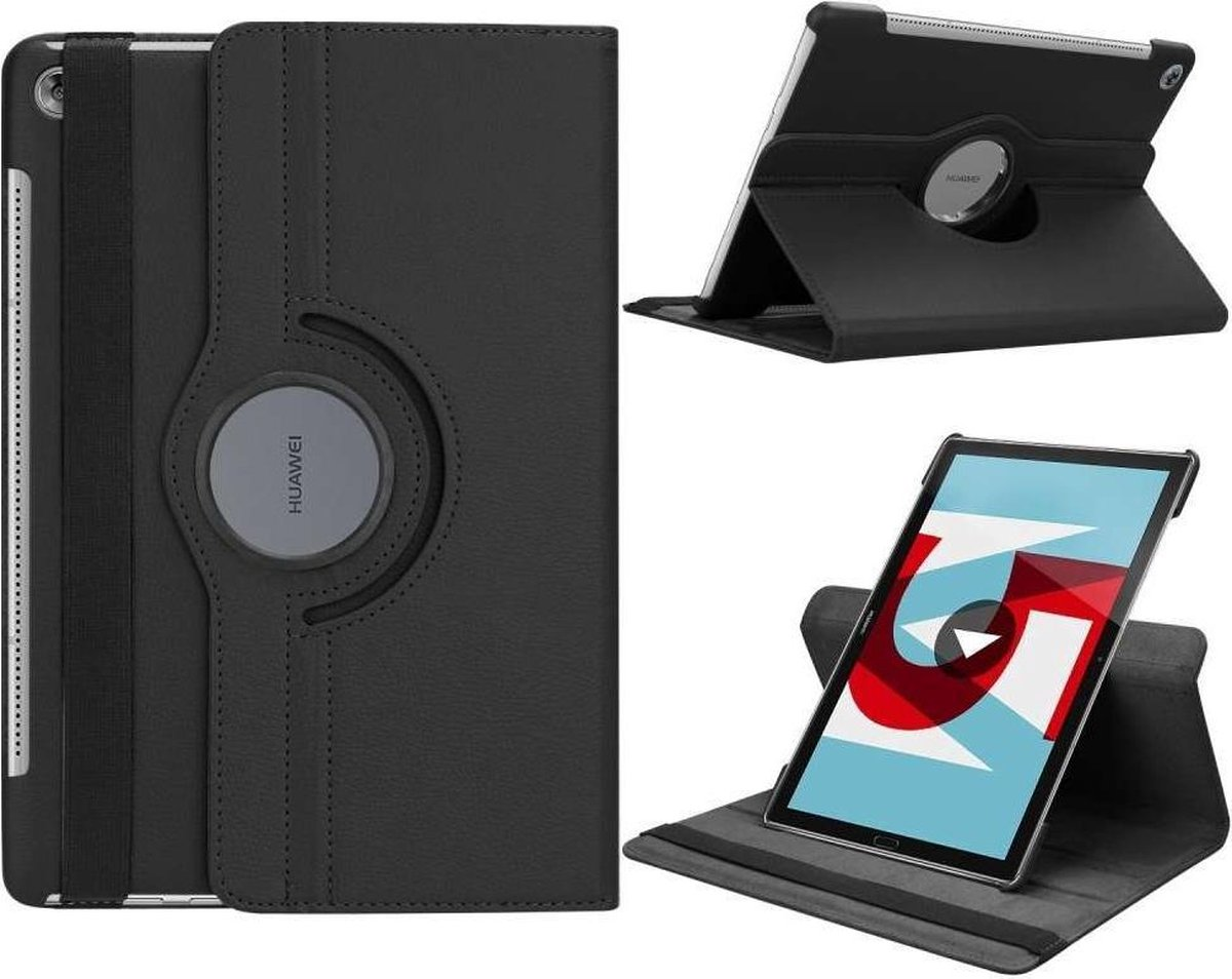 Huawei MediaPad M5 10/M5 10 (Pro) hoesje - Rotating 360 Case - zwart - Knaldeals.com