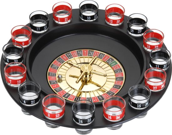 Afbeelding van het spel 19-Delig roulette drinkspel - met 16 shots glazen - Ø30cm diameter