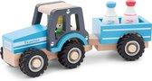 New Classic Toys Houten Tractor met Aanhanger - Blauw