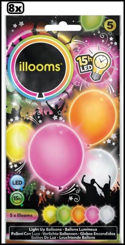 8x Led ballonnen kleur 5 stuks
