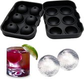 6 x Ice Ball Maker - Siliconen Dienblad met deksel - Makkelijk in te vullen, te gebruiken en te reinigen - 6 ronde ijsblokjes - Vaatwasmachinebestendig - gebruik voor Gin, Whisky & cocktails - Zwart