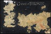 Game of Thrones poster map kaart Westeros Seven Kingdoms Giant formaat 100x140cm.