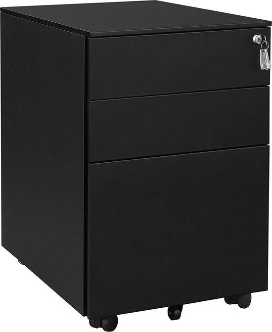 Ladeblok met Afsluitbare Lade - Metaal - 3 Lades - Zwart