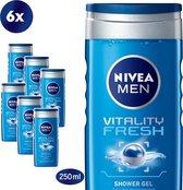 NIVEA MEN Vitality Fresh - 6 x 250 ml - Voordeelverpakking - Douchegel