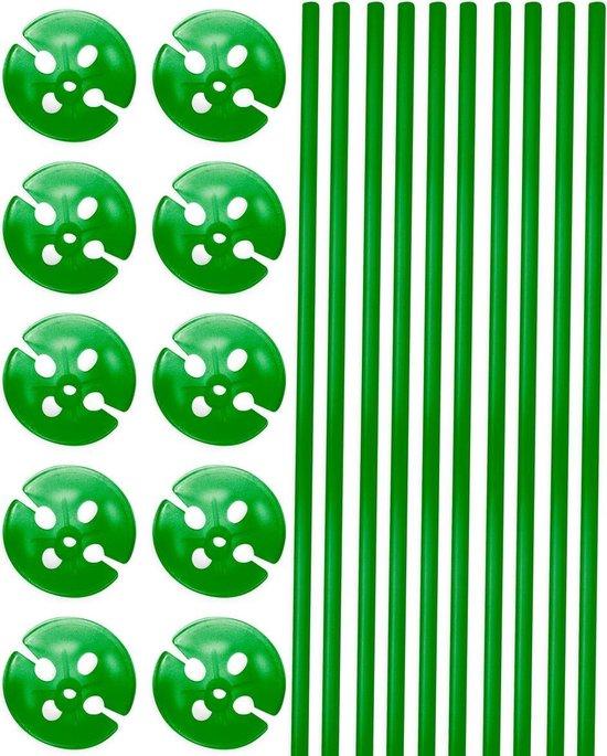 Groene Ballonstokjes met Houders - 10 stuks