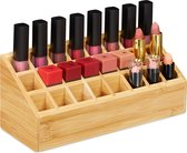 relaxdays lippenstift houder bamboe - lippenstift organizer - 24 vakken - make up