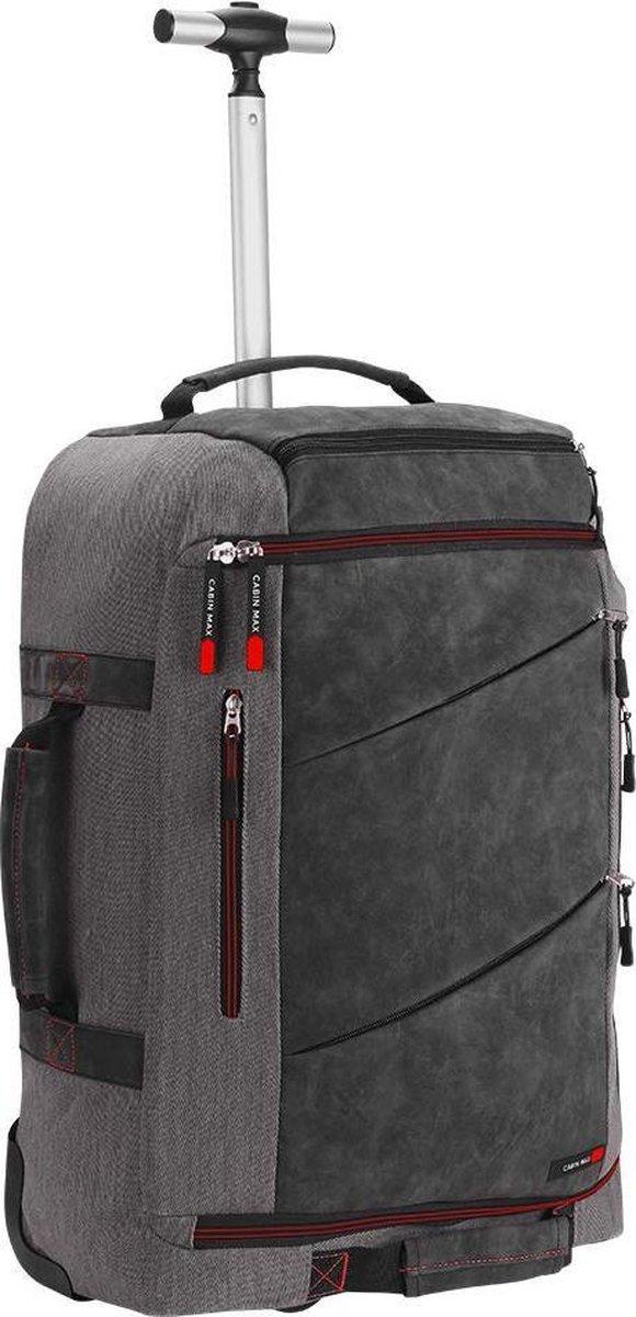 CabinMax Handbagage Rugzaktrolley - Trolley Rugzak 44L - 55x40x20 cm- Laptoptas - Manhattan - Grijs/