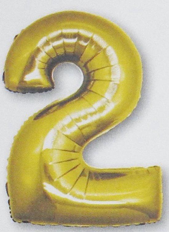 folie ballon cijfer 2, goud 92 cm