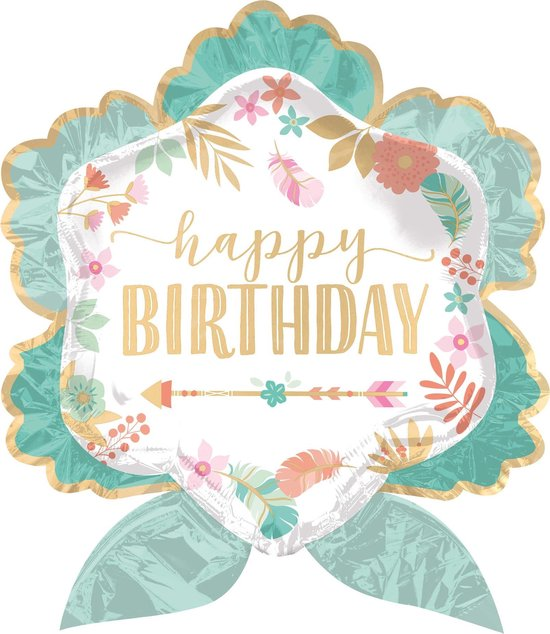 Groene Happy Birthday aluminium bloem ballon - Feestdecoratievoorwerp