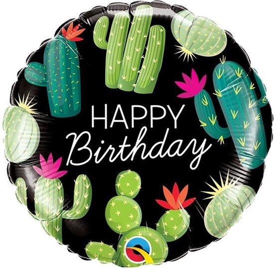 Folieballon 'Happy Birthday' Cactussen - 46 centimeter