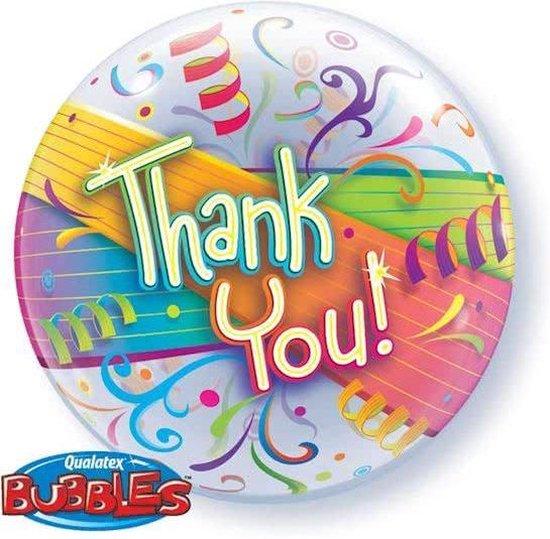 Folieballon - Thank you - Bubble - 56cm - Zonder vulling