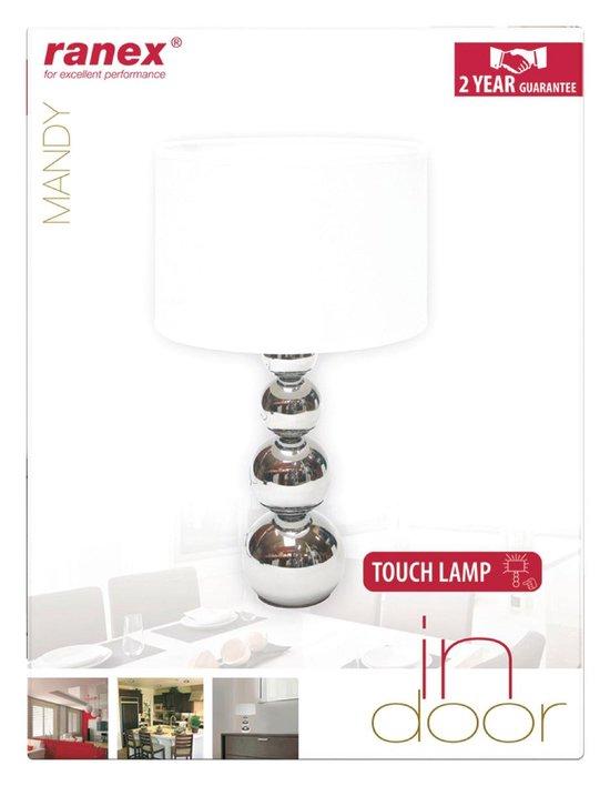 Ranex Mandy Tafellamp - witte kap - touch en dimfunctie